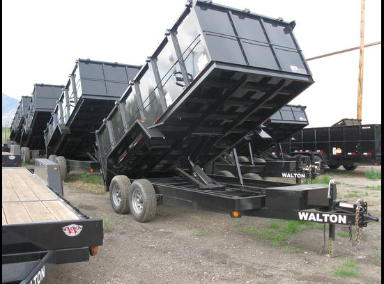 Walton Dump Trailer 14 Foot Tall Sided Dump Trailer 10.4K Axle GVW In Stock Sale Priced at $7398.oo